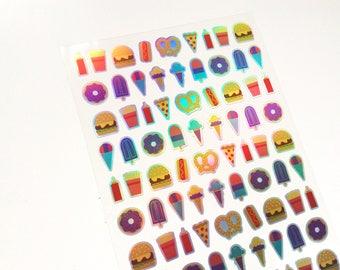 Mini Holographic Food Stickers • Planner Stickers • Holographic stickers • For your planner, scrapbook, agenda, calendar, laptop, decors