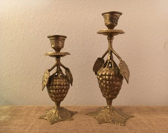 Cast Brass Grapevine Candlestick Holders with Grape Bunches and Leaves Set of 2