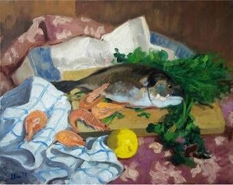 Original Oil Painting Still Life Painting Fish Painting Original Painting Oil on Canvas Impressionist Art Original Art Original Artwork