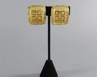 Vintage 1980's Givenchy Parfums Large Gold Logo Clip Earrings