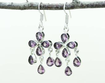 Pink Tourmaline Quartz 925 SOLID (Nickel Free) Sterling Silver Italian Made Dangle Earrings e610