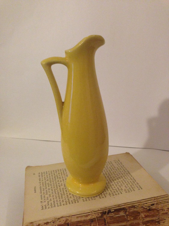 Vintage Usa Yellow Pottery Vase Mid Century Pottery Pitcher