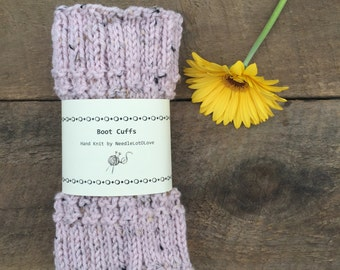 Pink Tweed Knit Boot Toppers; Knit Boof Cuffs | Leg Warmers