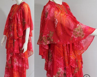 70s Dress, Avant Garde, Floral Print Dress, Red Pink Dress, Winged, Cape Dress, Chiffon, Tiered, Layered Dress, Bohemian, Hippie, UK 10