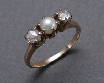 14K Rose diamonds and Pearl ring C1890 size 6.5