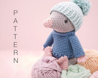 Amigurumi crochet cute mole doll - Moochie the Mole PATTERN ONLY (English)