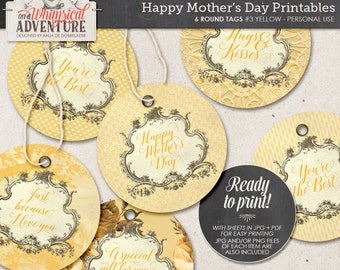 Printable Circular Tags, Gift Idea For Mom, Happy Mother's Day, Hugs And Kisses, Romantic Vintage Roses, Round Labels, Digital Download