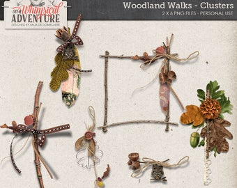 Autumn Clipart, Twigs and Leaves, Woodland Pine Cones, Digital Download, Rustic Scrapbook Elements, Owl Charm, Feathers, Fall Berries