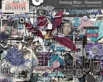 Digital art journaling, digital download, elements, embellishments, scrapbooking, paint, mixed media, vintage ephemera, clip art, blue, sad