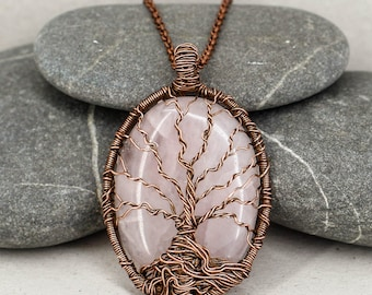 Tree-of-life necklace Rose quartz pendant Copper jewelry Healing crystal and stone Spiritual gift-for-mom gift-for-sister gift-for-wife gift