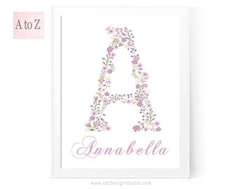 Name Print, Purple Flower Print, Floral Letter Print, Custom Print, Personalized Gift, Cadre, Monogram Print, Wall Art, Gift Ideas, D1-2