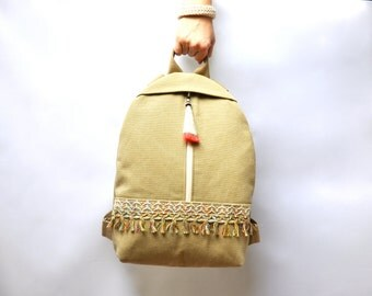 NEW limited canvas backpack, boho backpack, backpack purse, canvas bag, cotton rucksack, hipster backpack, bag with tassel, MADE to ORDER