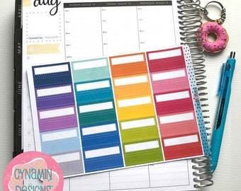 Stitched Quarter Box Stickers - Colourful Brights | Sheet of 40 | Erin Condren Vertical Hourly Life Planner Stickers