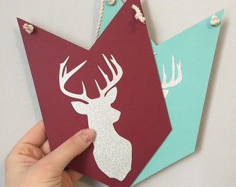 DEER HEAD pennant banner // christmas decor, holiday decor, hostess gift, merry & bright, deer, christmas deer