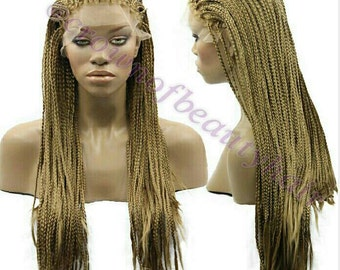 BOX BRAIDED WIG, Medium, Braids, Lace Front, Synthetic,parting,Single Plaits,hair,secure,cap,Adjustable. Custom Requests Accepted