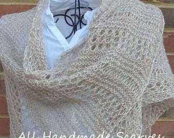 Beige metallic triangle lace knitted shawl/scarf for any occasion