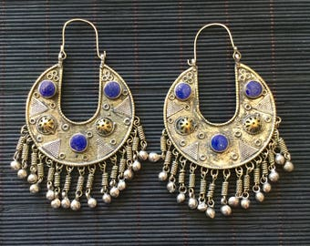 Earrings/Kuchi Earrings/Tribal Fusion bellydance/Gypsy/Bohemian/Bellydance/lapislazuli/Burning Man/earrings/Ibiza