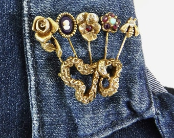 Gold Brooch/Pin/Goldette/Gold Tone/Stick Pin/Bow/Amethyst Garnet Rhinestones/Cameo/Turquoise/Flowers/Bee/Rose/Pansy/Vintage/FREE SHIPPING