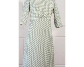 Vintage 60s Green Chevron Dress