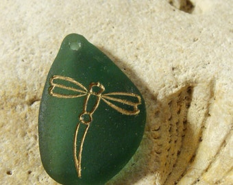 Dragonfly Teal Sea Glass Pendant Dragonfly Pendant Drilled Sea Glass Dragonfly Charm