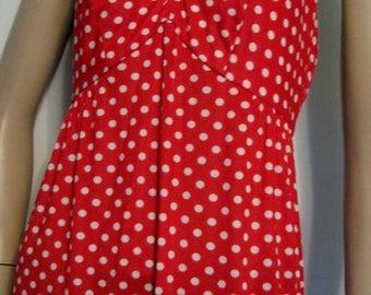 Vintage Red Dress Polka Dot Halter 1970s Bolero Jacket Maxi Dress Kelly Arden