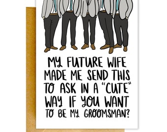 Will You Be My Groomsman Card, Funny Groomsman Card, Best Man Card, Wedding Card, Be My Groomsman Card, Be My Groomsmen Card