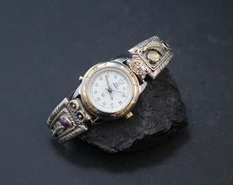 Sterling Silver Native American Gemstone Watch Tips with Moonstone