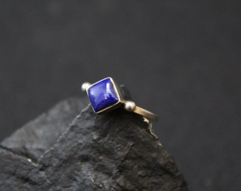 Simple Sterling Silver and Lapis Lazuli Square Stacker Ring