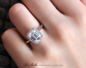 2.90 ct.tw Classic Emerald Halo Engagement Ring-Emerald Cut Diamond Simulants-Bridal Ring-Anniversary Ring-Solid Sterling Silver [5051]