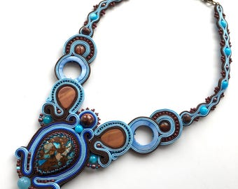 Oriental Necklace, Soutache Necklace, Jasper Necklace, Boho Chic Necklace, Ethnic Necklace, Blue Brown Necklace, Embroidered Necklace