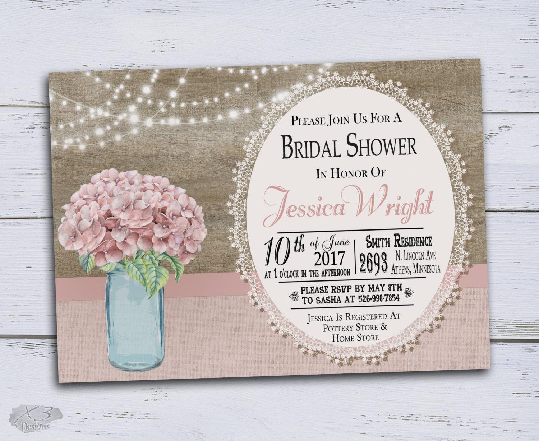 Wedding Shower Invitation: Rustic Bridal Shower Invitation Country Wedding Shower