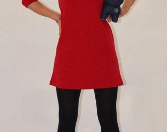 Extravagant Minimalist Tunic/ Asymetric Shoulders Dress/ Casual Party Dress/ Black/Royal Blue/Red/White/Ecru Colours