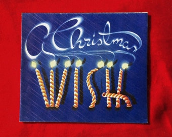 1940's Cobalt Blue Christmas Wish Greeting Card Gorgeous Colors!