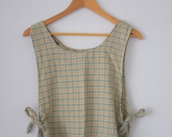 Vintage Plaid Side Tie Tank Top