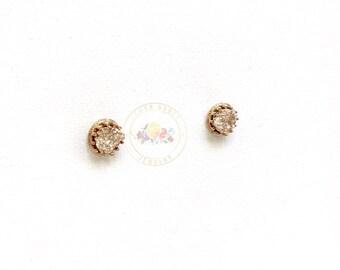 Gold Druzy Stud Earrings, Minimalist Jewelry Gold, Boho Chic Earrings, Druzy Stone Earrings,Gold Earrings, Gold Stud Earring, Rose Gold
