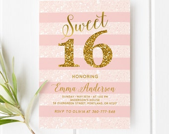 Sweet Sixteen Birthday Invitation Pink And Gold Girl Birthday Invitation Printable Birthday Party Invitation Sweet 16 Birthday Party Invite