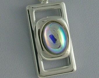 Rectangular czech glass cabochon pendant