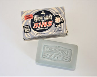 Wash Away Your SINS Bar soap in original Box Vintage