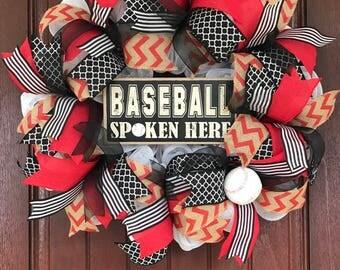 Baseball Wreath, Baseball Spoken Here, Sports Wreath
