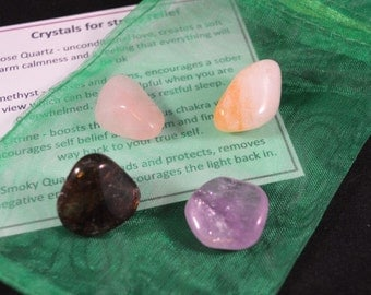 Crystal Healing Kit for Stress Relief incl tumble stones and guidelines ideal for healing, Reiki and meditation