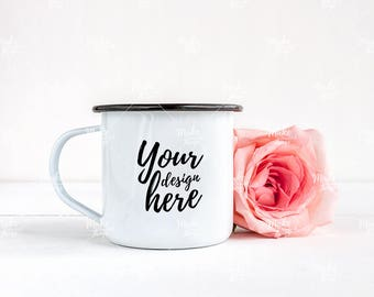 White enamel mug stock photography / Instant download /#7004