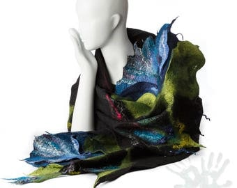 Shawl With Flowers / Blue Tulips  / Nuno Felting / Handmade Felted Scarf / Merino Wool / Wrap / Nuno Felt / Ready To Ship/ Free shipping.