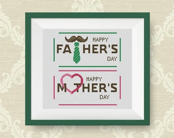 BUY 2, GET 1 FREE! Happy father's and mother's day Cross Stitch Pattern, pdf counted cross stitch pattern, Instant Download, #P278