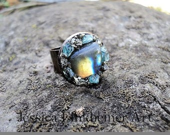 Flashy Labradorite ring with Pyrite, and blue Apatite