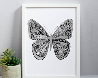 Butterfly Print - butterfly art - folk art prints - insect art - decorative prints - monochrome art - wildlife print - nature art