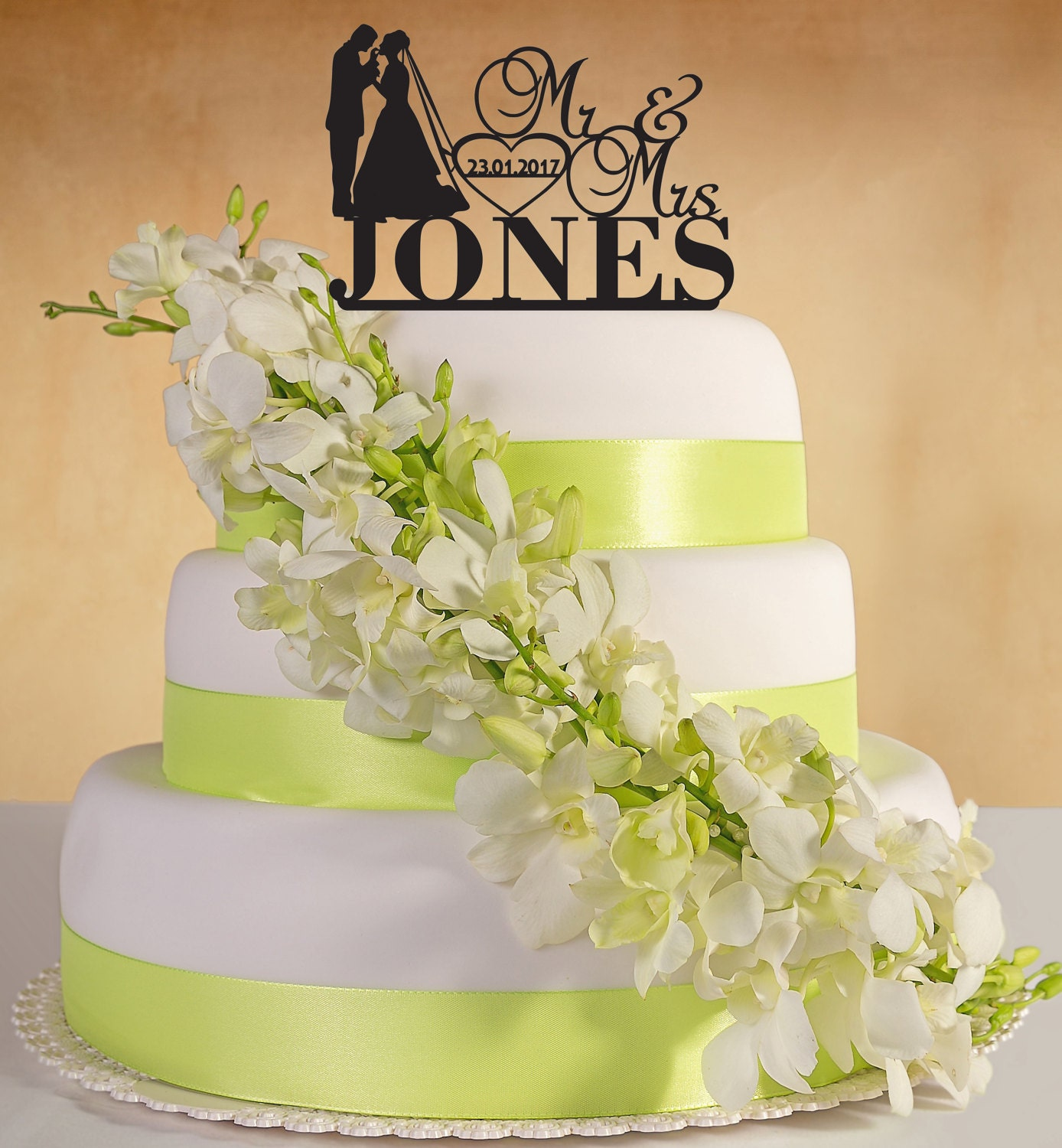 Personalised Wedding Cake Topper. Mr&Mrs with surname, date of ...