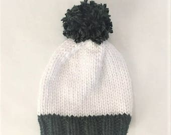 Chunky Pom Beanie Hand Knit, Pom Hat, Hand Knitted Hat - Green & White (Adult)