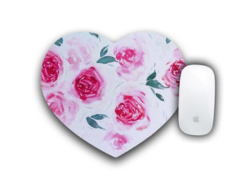 Flower Mousepad, Office Decor, Round Mousepad, Computer Mousepad, Watercolor Rose, Computer Accessory, Floral Decor, Mousepad, Desk Decor