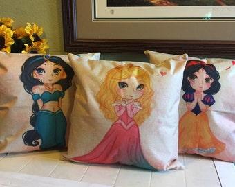 Princess Linen Pillow Covers 18x18 Jasmine Snow White Sleeping Beauty Ariel Little Mermaid Belle Merida