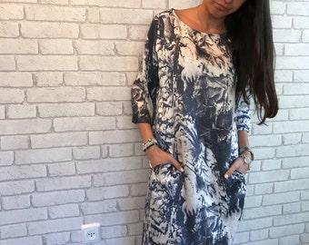 Blue & white Print Dress, Shirt Dress,  Print Tunic Dress,  Casual day dress, size M  - Bel